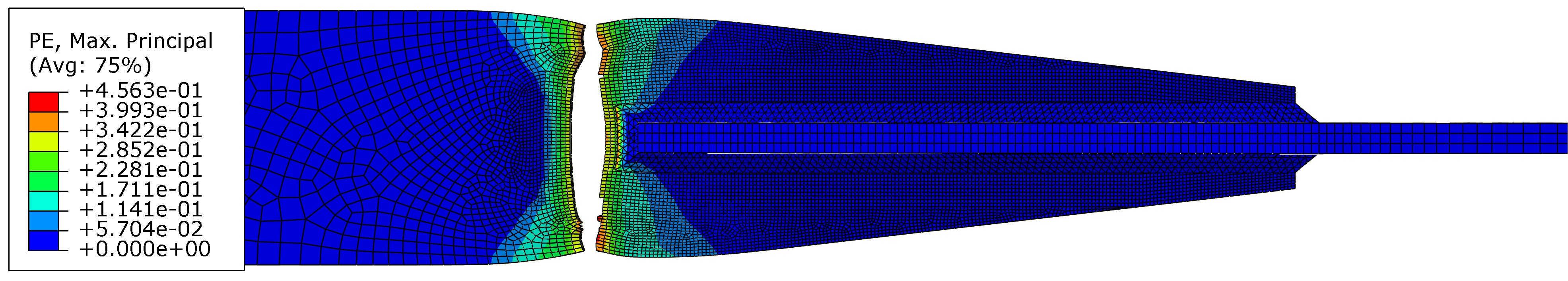 Plastic strain contour plot of the FEM model of the longitudinally welded cruciform V1